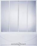 Шторка на ванну BAS прямая 170 см, 4 створки, пластик Вотер